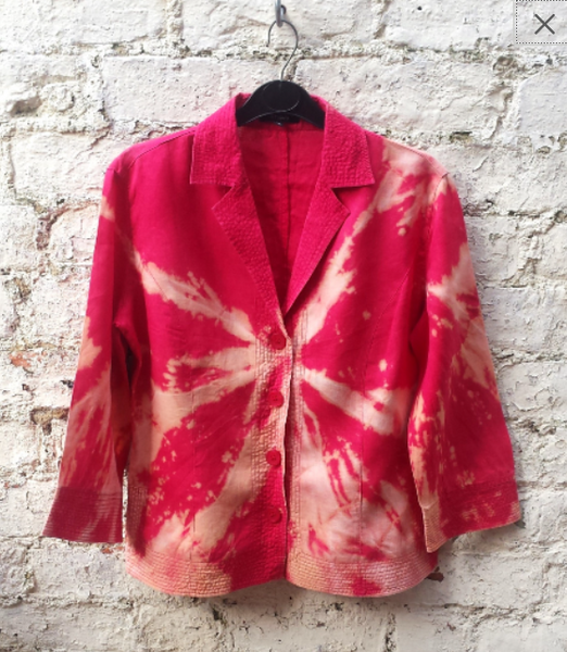Upcycled Linen Jacket Tie Dye Red Womens to fit UK size 10 or US size 6