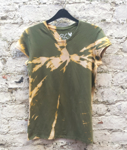 Bleached T-shirt Khaki Green UK 16 / US 12