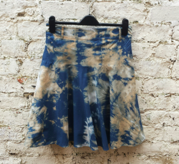Upcycled Skirt Bleached Midi Skirt Tie Dye Blue to fit UK Size 8 or US size 4