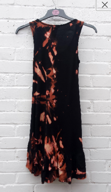 Upcycled Bohemian Dress Black Bleach Dye to fit UK Size 8 or US size 4