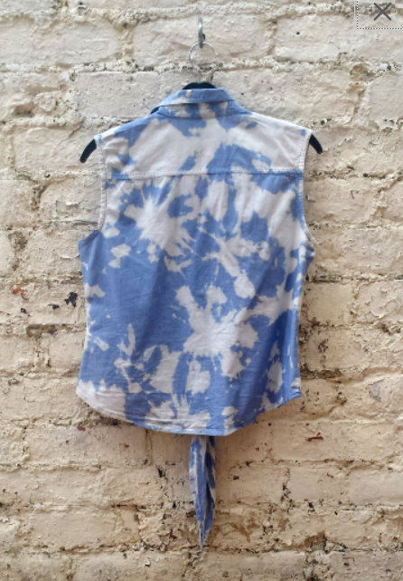 Upcycled Denim Crop Top Bleach Dye to fit UK size 10 US size 6