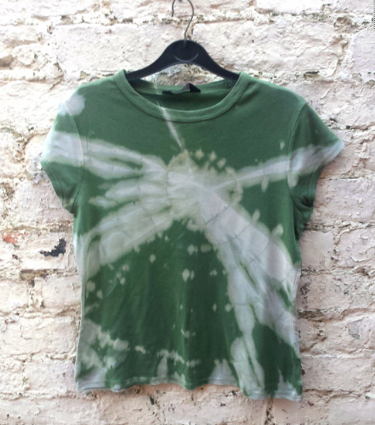 Upcycled Bleach Tie Dye Tshirt in Green & Pastel Blue to fit UK size 14 or US size 10
