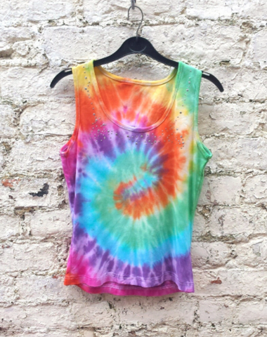 Upcycled Rainbow Tie Dye Tank Top Womens to fit UK size 12 or US size 8