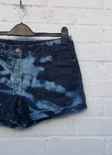 Upcycled Bleach Dye Denim Short to fit UK size 10 or US size 6 High Waist