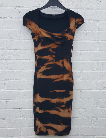 Upcycled Bleach Dye Dress to fit UK Size 6 US size 2 Black & Burnt Orange