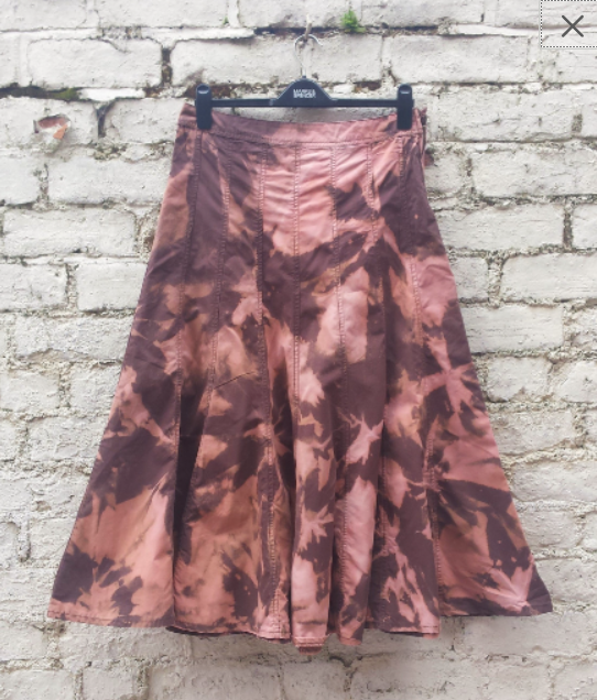 Upcycled Maxi Skirt Bleach Tie Dye to fit UK Size 10 or US size 6