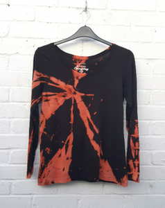 Black Bleached Long Sleeve Top UK16 / US12