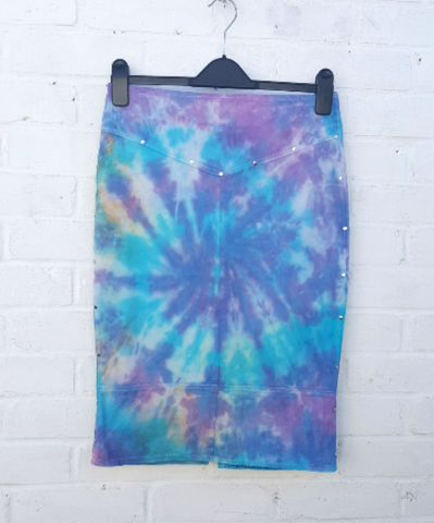 Upcycled Tie Dye Denim Pencil Skirt to fit UK size 8 or US size 4