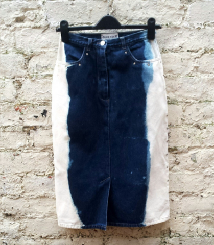 Denim Midi Skirt Upcycle UK 10 / US 6
