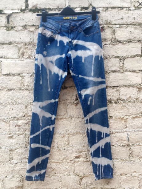 Upcycled Skinny Jeans Bleach Dye to fit UK size 6 or US size 2 High Waisted