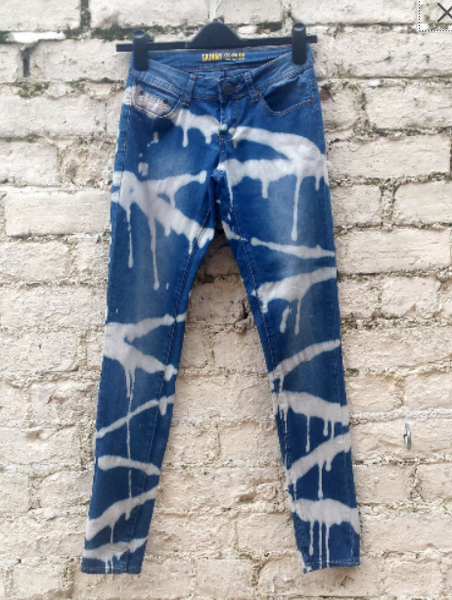 High Waist Upcycled Skinny Jeans Bleach Dye UK 6 / US 2