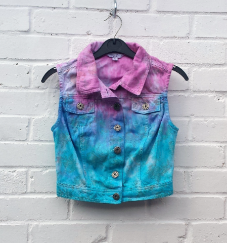 Upcycled Crop Denim Vest Pink & Blue to fit UK size 8 or US size 4