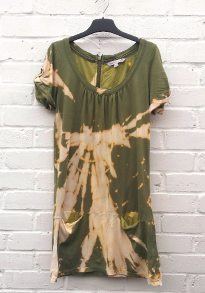 Upcycled Dress Khaki Green UK 10 / US 6