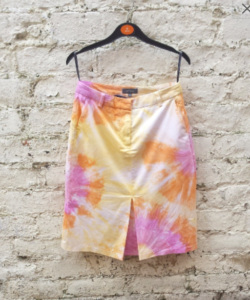 Upcycled Skirt Pastel Tie Dye Orange Yellow & Pink to fit UK size 8 or US size 4