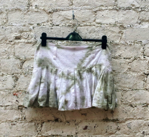 Bohemian Upcycled Mini Skirt in Olive Green Tie Dye to fit UK Size 12 or US size 8