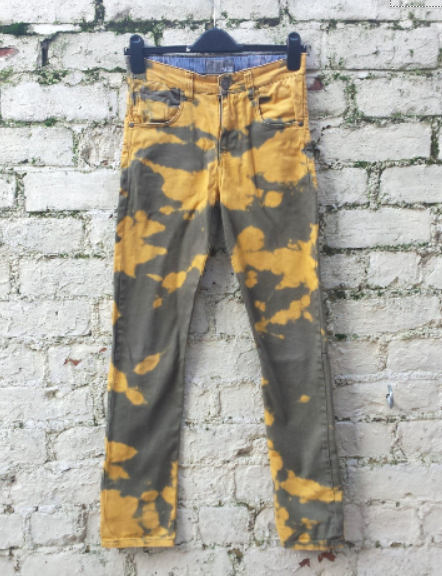 Upcycled Bleached Jeans Green & Yellow UK 6 / US 2