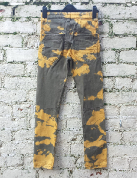 Upcycled Jeans Bleach Dye High Waisted Khaki & Yellow to fit UK size 6 or US size 2