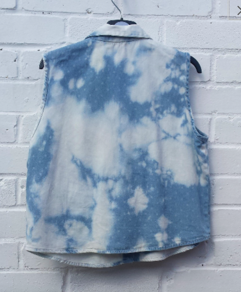 Upcycled Bleach Denim Crop Tank Top to fit UK size 12 US size 8
