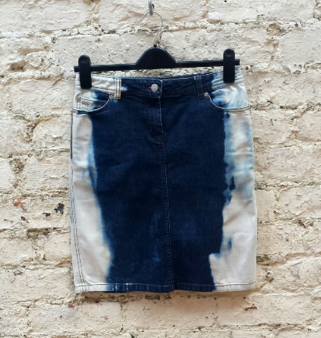 Upcycled Midi Skirt Bleach Dye Denim to fit UK Size 8 or US size 4
