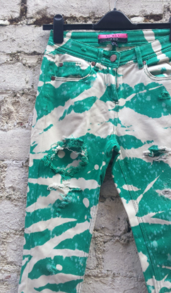 Upcycled Skinny Jeans Green Ripped Bleached High Waist to fit UK size 8 or US size 4