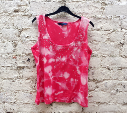 Upcycled Womens Tank Top Pink with Diamantes to fit UK size 16 or US size 12