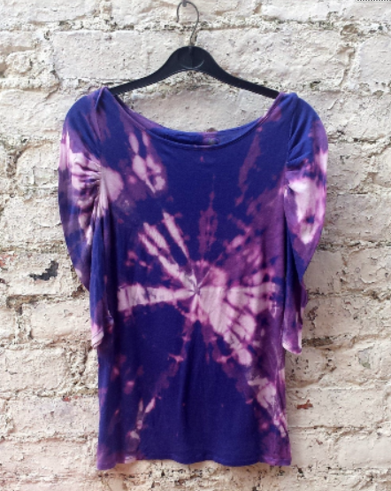 Upcycled Purple Tie Dye Top to fit UK Size 8 or US size 4