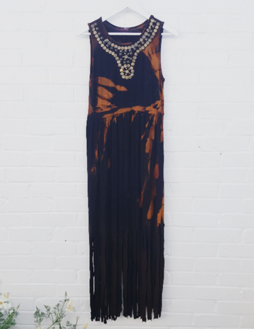 Fringe Maxi Dress Black Bleach Tie Dye Upcycled Ethical to fit UK Size 14 or US size 10