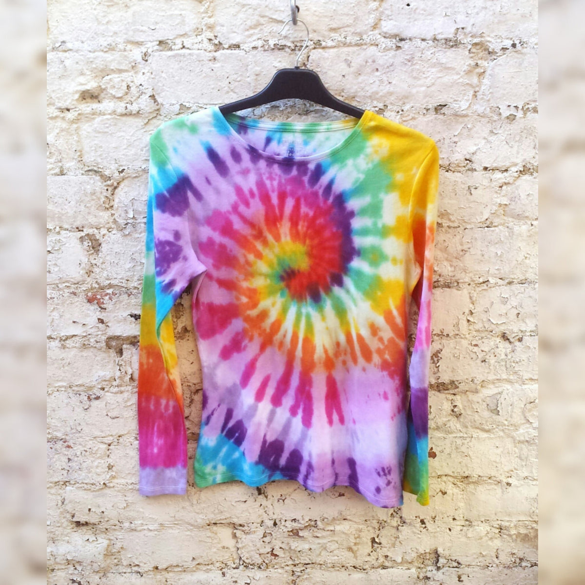 Rainbow Tie Dye Shirt Long Sleeve Womens