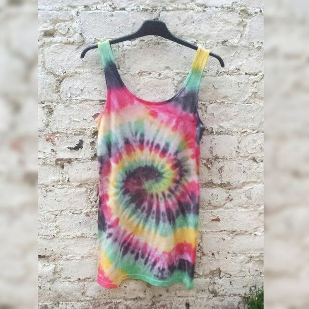 06f93b20e32576 Rasta Tie Dye Tank Top Vest ALL SIZES Hippie Festival Stoner Girl Pot Head  Clothing Yoga