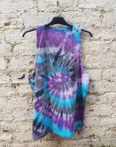 Tie Dye Mens Tank Top Blue & Purple Spiral
