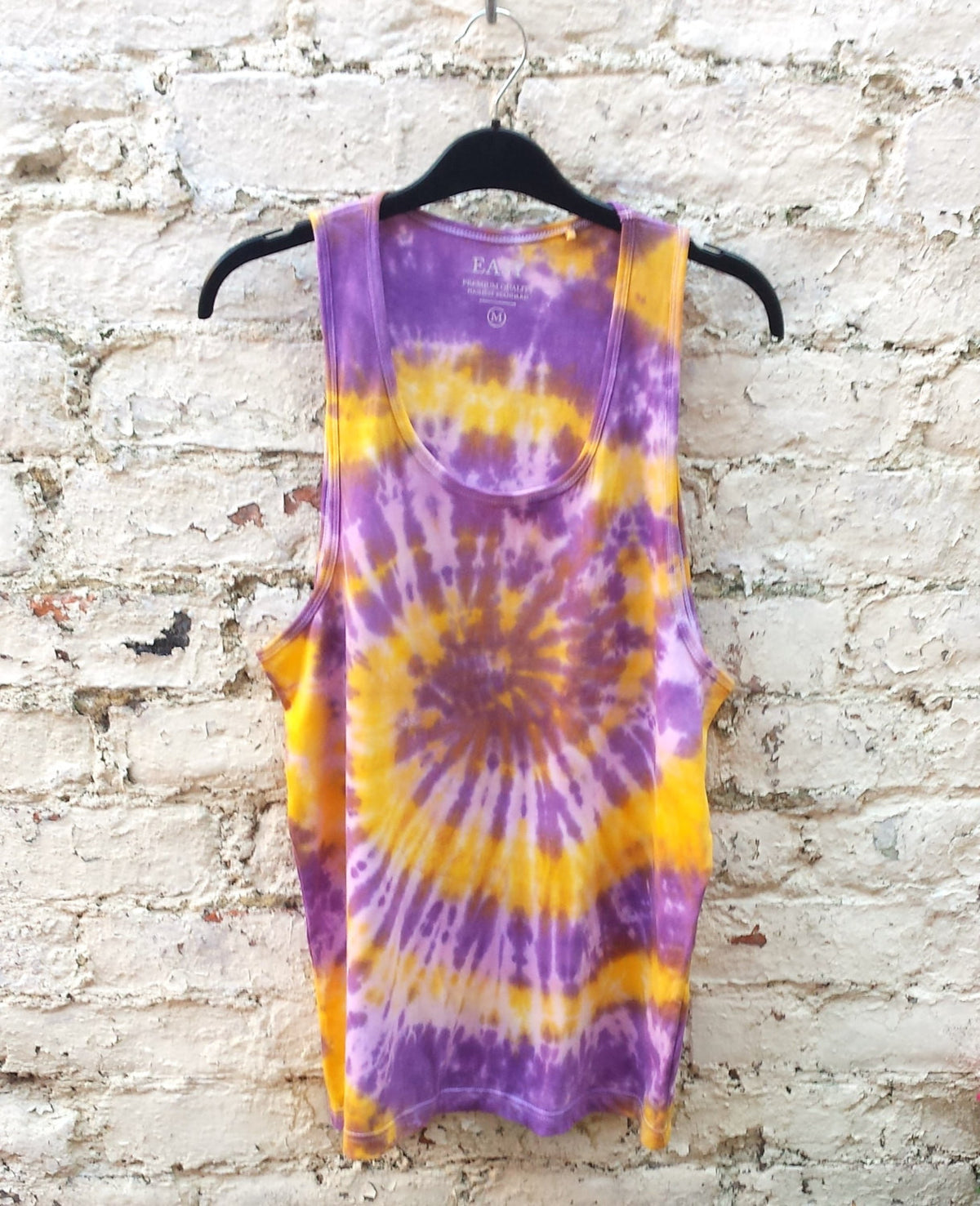 Mens Tank Tie Dye Tank Top Yellow & Purple Spiral Tie Dye ALL SIZES Hippie Boho Festival Mens Tanks Yoga Men Gym Tanks gift for man tie dye