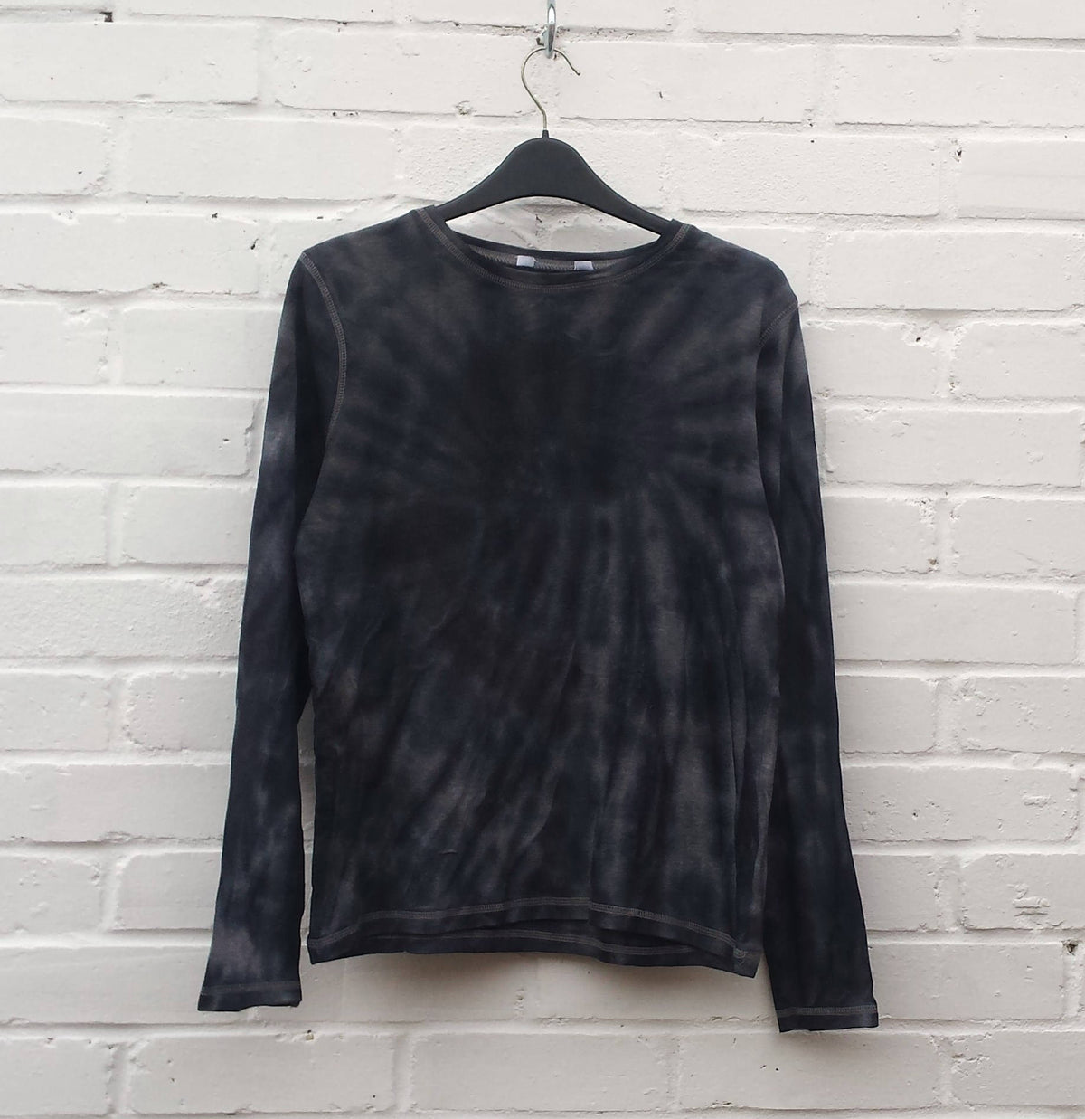 Tie Dye Top Long Sleeve Womens Top Black ALL SIZES Festival Clothing Hippie Bohemian