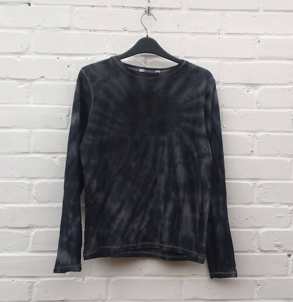 Tie Dye Top Long Sleeve Womens Top Black