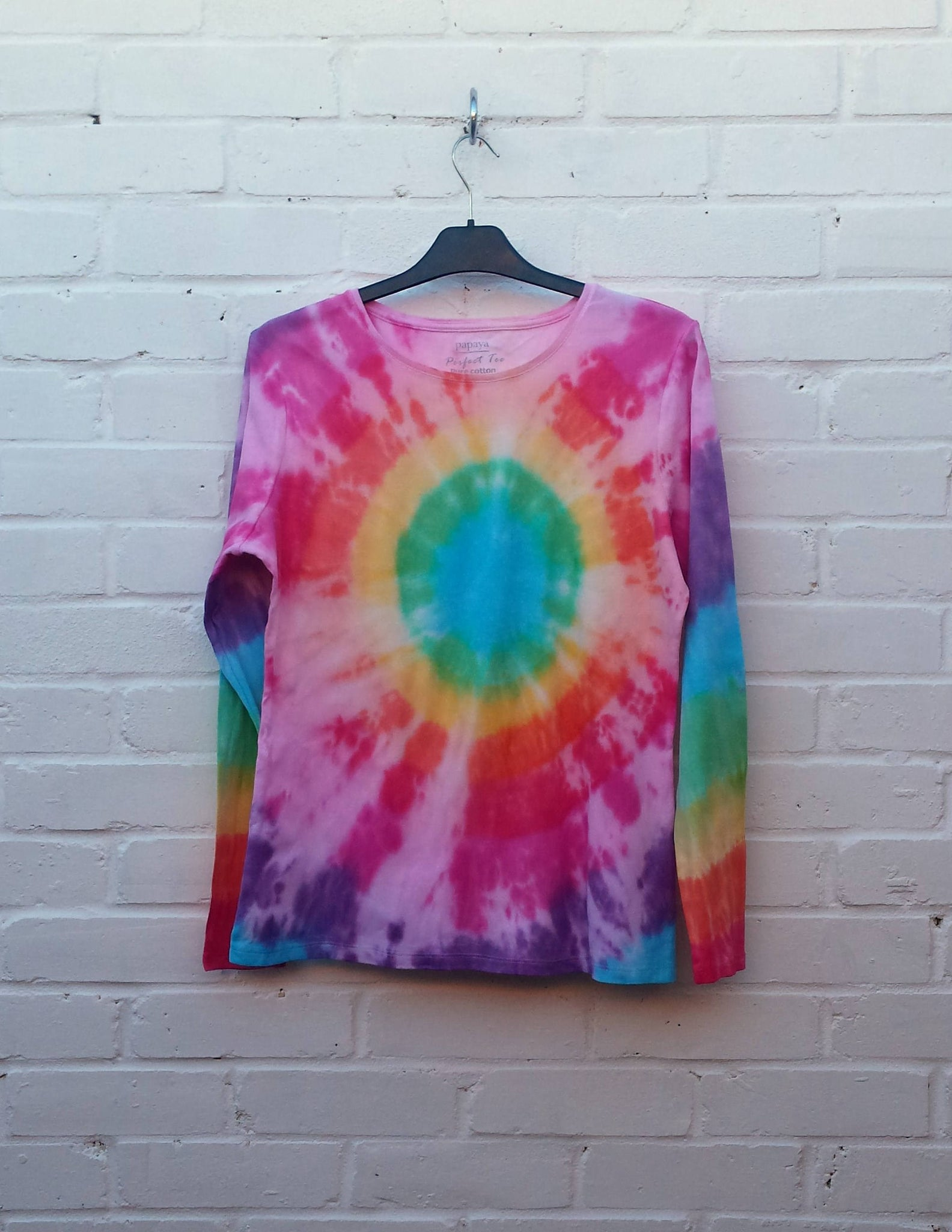 rainbow tie dye long sleeve top womens
