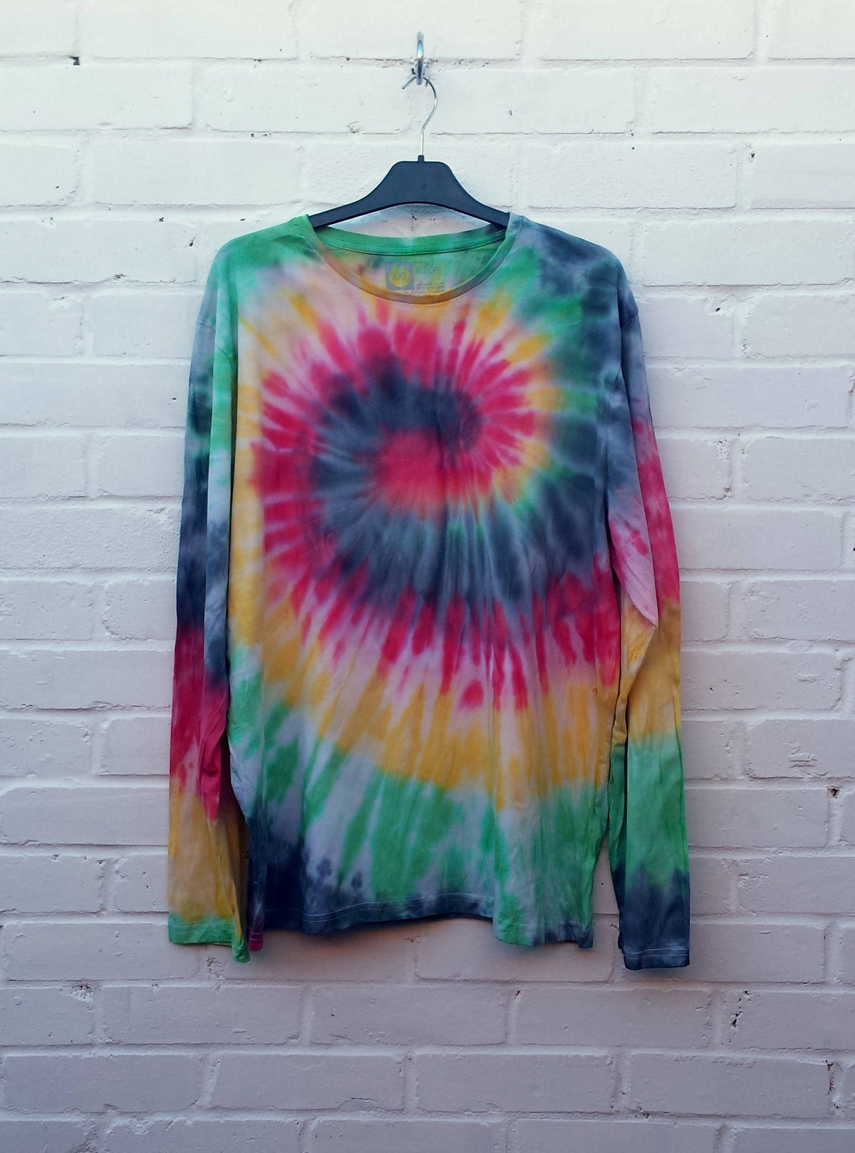 Rasta Tie Dye Sweater Mens Jumper ALL SIZES Long Sleeve Tee Hippie Stoner 420 Festival Clothing Top Summer