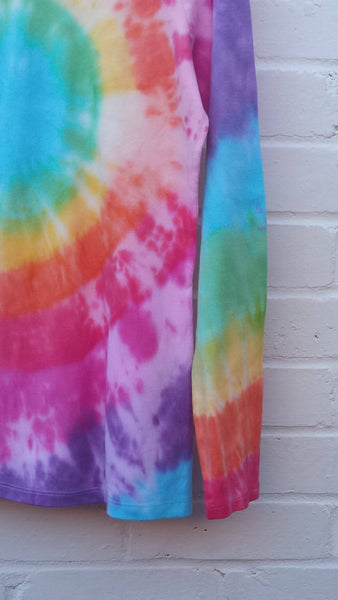 rainbow tie dye long sleeve top womens close up