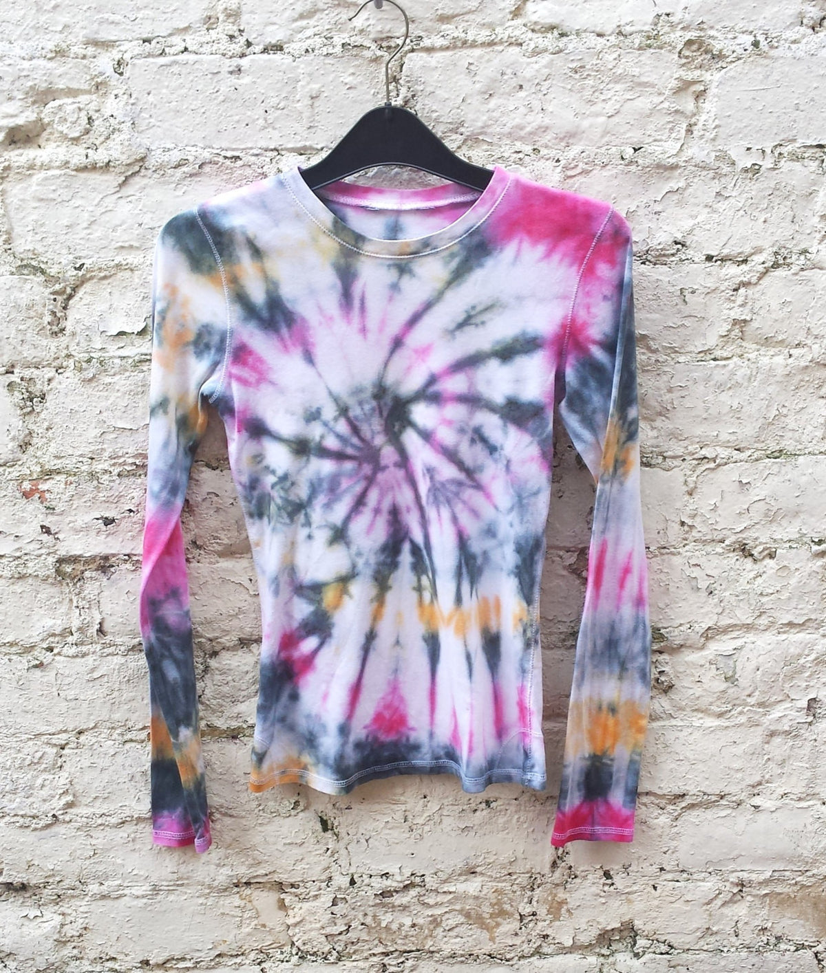 Tie Dye Top Long Sleeve Womens Top Yellow, Pink & Black ALL SIZES Festival Clothing Hippie Bohemian