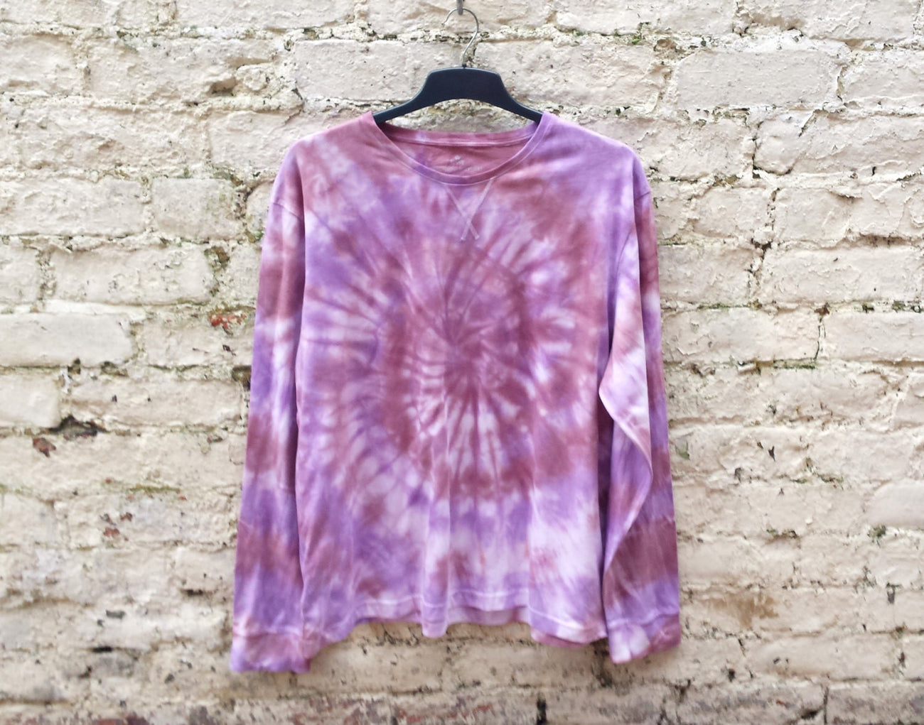 Tie Dye Sweater Mens Burgundy & Purple Long Sleeve Tee ALL SIZES Mens Festival Clothing