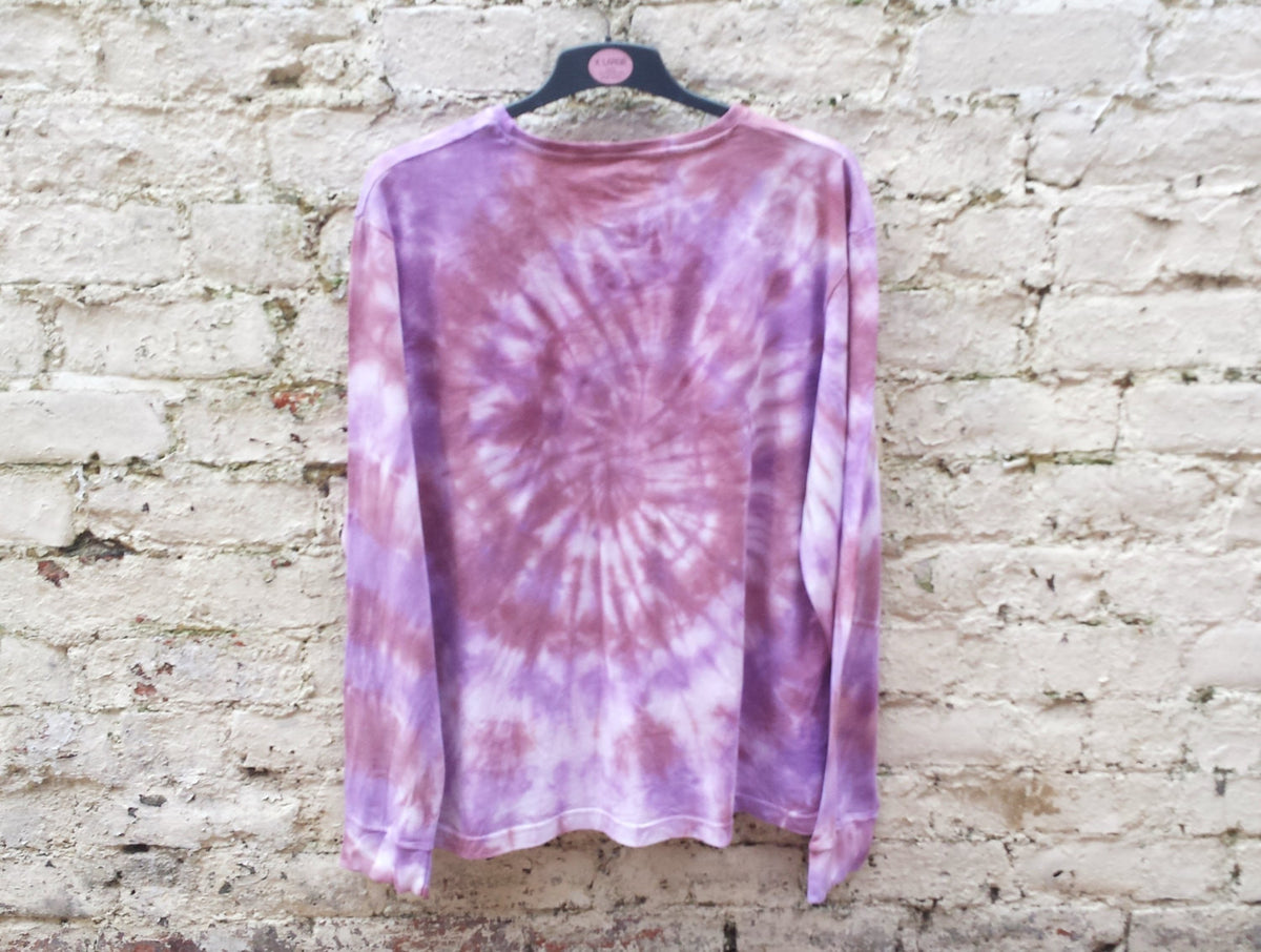 Tie Dye Mens Burgundy & Purple Long Sleeve