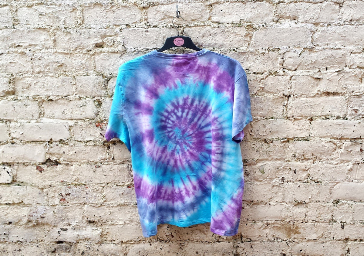 Tie Dye Shirt Hippie Purple & Blue