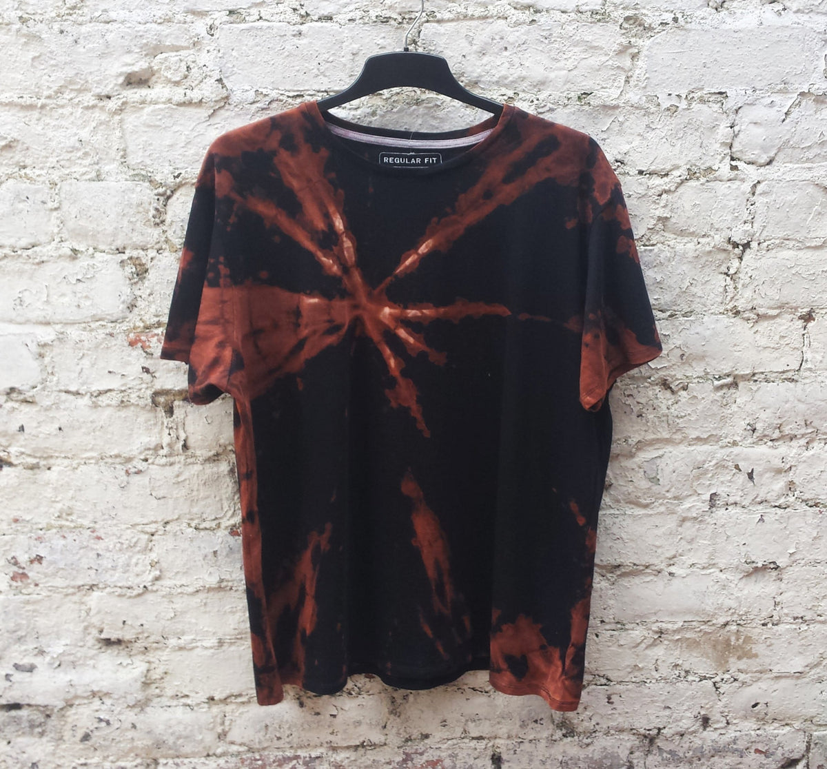Mens Tie Dye Shirt Bleach Dye Hippie Tshirt Unisex T-shirt All Sizes Available Black & Orange Festival Clothing Trippy Psychedelic Clothing