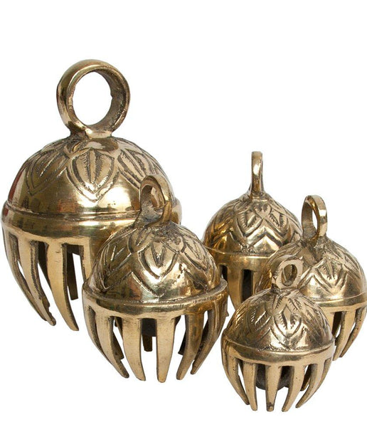 DOBANI Graduated Solid Brass Elephant Bells 5-Piece 1.5-to-3-Inch