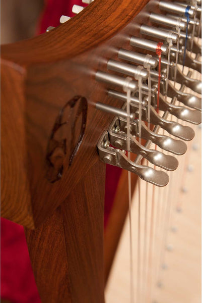 Pole levers on a Roosebeck Cletic Harp