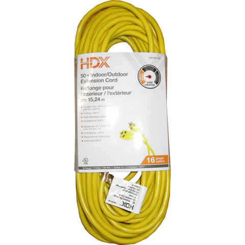 HDX 50 ft. 16-Gauge Indoor/Outdoor Extension Cord