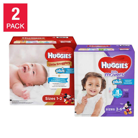 Huggies Plus Diapers (available sizes 1 through 6), 2-pack