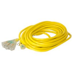 Canada Wire SJTW 12/3 15.2M (50Feet) Triple Fantail Lit end - YELLOW