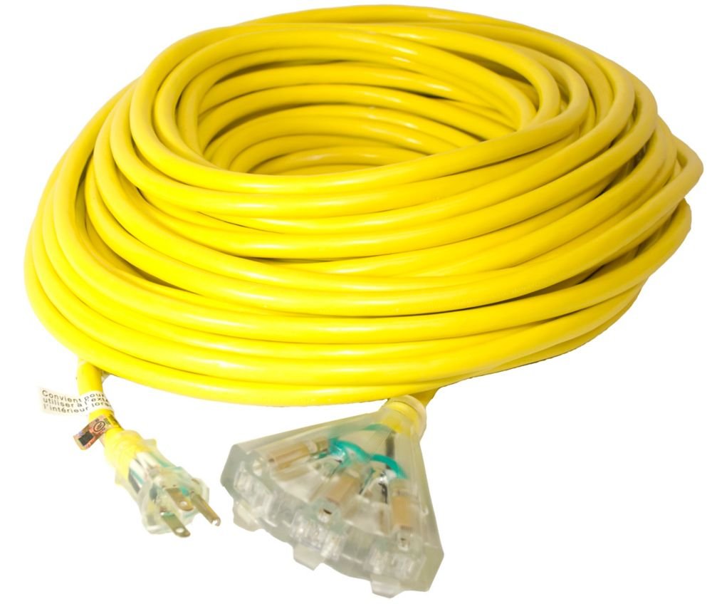 Canada Wire SJTW 12/3 30.4M (100Feet) Triple Fantail end - YELLOW