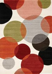 Bubbles 5' X 8' Area Rug - Cream and Red