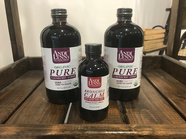 Andi Lynn's 2 pack 16oz Pure Elderberry Syrup Plus 1 Bronchia Calm Syrup, 4 oz - Andi Lynn's Pure & Custom Formulary