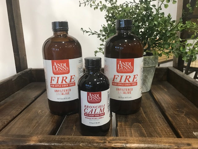 Andi Lynn's 2 pack 16oz Fire Raw Apple Cider Tonic Plus Bronchia Calm Syrup, 4oz - Andi Lynn's Pure & Custom Formulary